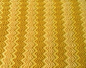 """DOWNSIZING SHOP SALE... Gold with Butterscotch Yellow and Golden Caramel Vintage Cabin Crafts Needletuft Zigzag Chenille Fabric...22 x 23"""""""