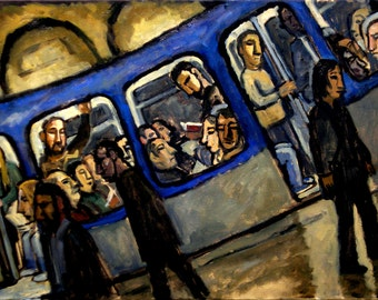 Original Oil Painting, Blue Metro. 18x24 Oil on Canvas, Large Original Modern Art, Industrial Urban Subway Fine Art, Signed Orignal