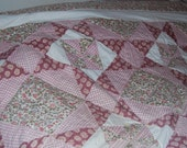 Ohio Star Pink and White Queen size Quilt ECS
