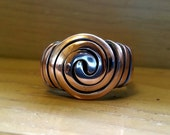 Handcrafted BOLD Swirl Copper Ring (14 gauge) Custom Made in Your Size