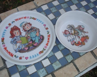 Vintage Raggedy Ann and Andy Plate and Bowl Set by Bobbs Merrill Company 1969