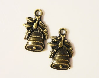 Bronze Bell Charms 21x11mm Antique Brass Metal Wedding Bell Charms Christmas Bell Pendant Church Bell Charm Jewelry Making Supplies 12pcs