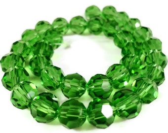 Green Crystal Beads 6mm Round Faceted Chinese Crystal Beads for Jewelry Making on a 7 1/4 Inch Strand with 33 Beads