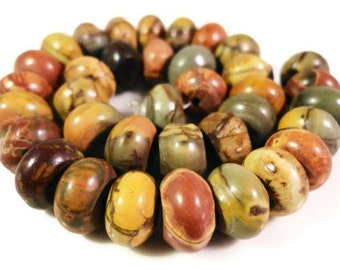 Picasso Jasper Gemstone Beads 8x5mm Multicolor Rondelle Red Creek Jasper Beads Semiprecious Stone Beads on a 7 1/4 Inch Strand with 35 Beads