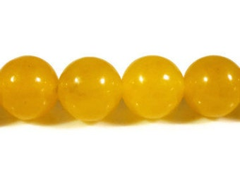 Yellow Jade Beads 8mm Round Topaz Yellow Dyed Candy Jade Gemstone Semiprecious Stone Beads on a 7 1/4 Inch Strand with 23 Beads