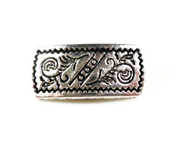 Silver Shank Buttons 17x7mm Antique Silver Tone Metal Bar Shank Buttons, Wrap Bracelet Buttons, Rectangle Buttons, Fancy Buttons, 5pcs