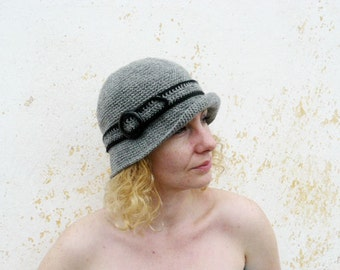 Grey woman's cloche, wool elegant crochet hat