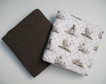 Organic, Cotton, Fitted Sheet, Mini Co-Sleeper, Co-Sleeper, Pack n Play, Mini-Crib, Crib Sheet: Baby Toile, Brown, White, Toile, Baby Girl