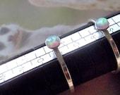 opal ring, sterling silver stacking ring, slim ring,  elegant  4mm cabochon