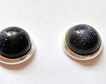 blue goldstone silver stud earrings 8mm free shipping constellation stars space