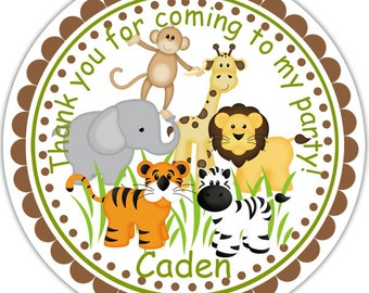 Jungle Sarfari Animals  - Personalized Stickers, Party Favor Tags, Thank You Tags, Gift Tags, Address labels, Birthday, Baby Shower