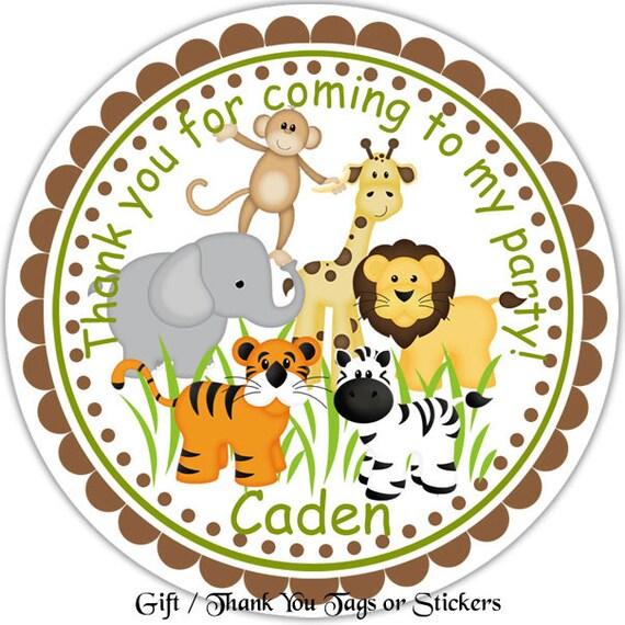Jungle Sarfari Animals Personalized Stickers Party Favor