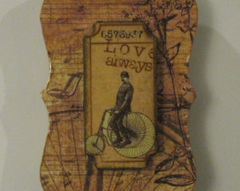 Love Always Man on Antique Bicycle on Vintage Sheet Music Wood Magnet