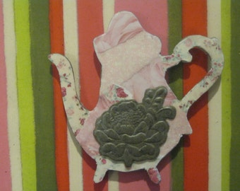 Shabby Chic Teapot Pink Floral Decoupage with Floral Embellishment Wooden Magnet