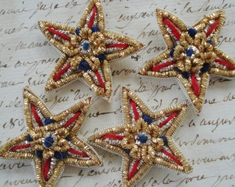 1 pce Vintage Gold & Silver Bullion Metal Metallic Thread Military Star Applique Trim Embellishment French Doll Dress Hat Military Award