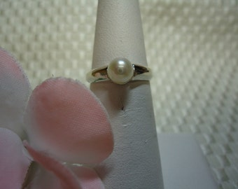 White Pearl Ring in Sterling Silver  #703