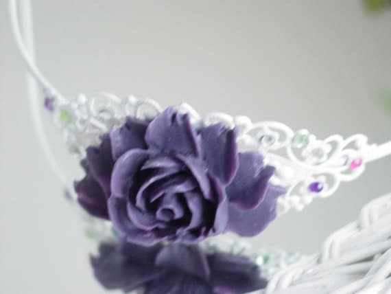 HAIR BAND - White Headband With Purple Peony Cabochon Flower and Some Bling