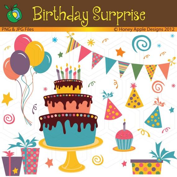 Items Similar To Birthday Cake, Balloons, Cupcake, Banner