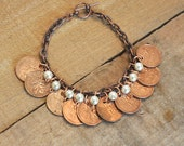 Upcycled, Repurposed, Canadian Coins Pennies Bracelet 1970s 1980s 1990s, 10 penny bracelet, 9 Pearls, OOAK, Copper Bracelet