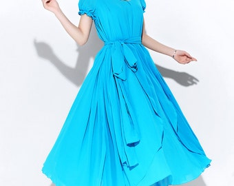 Teal Chiffon Dress - Floaty Romantic Fit & Flare Long Elegant Party Dress with Puff Sleeves and Self-Tie Waist C119