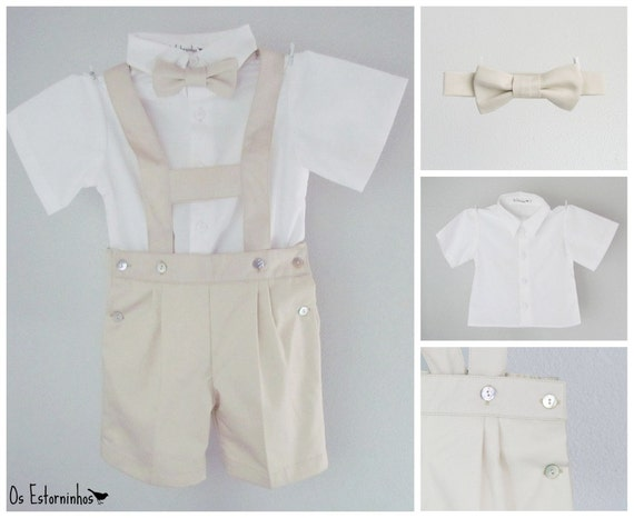 Boys outfit - Khaki cotton shortalls with H bar suspenders, bow tie and white shirt - 3-piece set