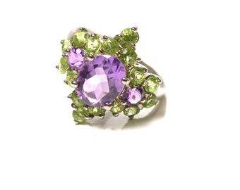 Sterling Silver Cubic Zirconia Purple and Green Ring - Size 11 1/4 - Colorful - Reduced # 1362