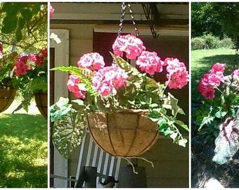 Hanging basket, silk pink geranium basket, hanging floral arrangement, silk flowers