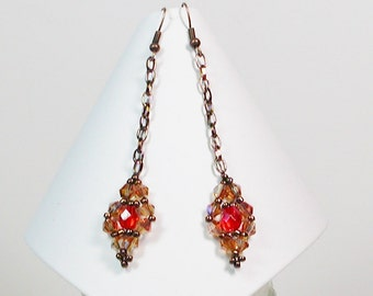 Victorian Style Chain Earrings, Beaded Earrings, Bead Weaving Earrings, Dangle Earrings, Tangerine Earrings