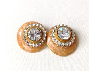 CLIP ROUND EARRINGS, vintage 1970s, wedding, bridal, apricot, summer earrings, rhinestones earrings, patina earrings, gift for her