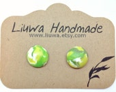 Post Earrings, Green Marble Clay Dot Earrings, Surgical Stainless Steel Posts