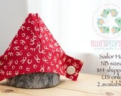 UpCycled Newborn boy red with horseshoes fabric newspaper sailor hat   (photo prop, handmade)