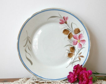 Vintage White Plate with Pink and Brown Flowers and Leaves spring mothers day easter