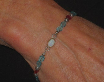 Delicate Apatite Opal Tourmaline and Sterling Silver Bracelet