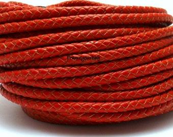 10% OFF1 meter/ 39 in  - 6mm Braided Genuine Leather Cord Red (European product)