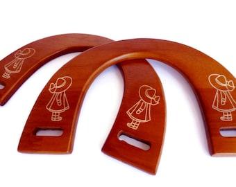 1 pair of wood bag handles honey 18cmX12cm (7,09 inX4,72 in)  WH23