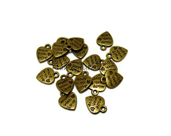 18 pcs pendant Heart Antique Brass (Made With Love) (P14)
