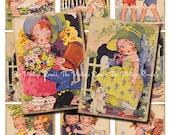 INSTANT DOWNLOAD, Printable Vintage Girls Digital Collage Sheet