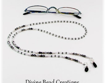 Silver Dark Gray Austrian Crystal Swarovski Sterling Silver Beaded Eyeglass Chain Leash Holder Lanyard