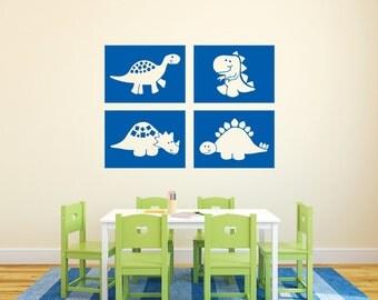 "Dinosaur blocks Nursery Childrens Vinyl decal boys room T Rex Brontosaurus Triceritops, Stegosaurus Set of 4 - each 10"" x 14"""