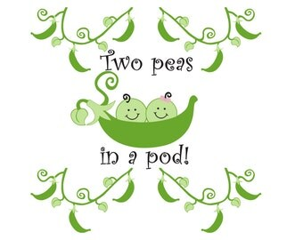 Two Peas in a Pod Twins Nursery Vinyl Wall Art - 4 x Vines and a Two Peas in a Pod decal