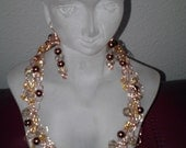 Copper crochet wire necklace 16 inch 12mcrystals 6mm brown faux pearls gold seed beads