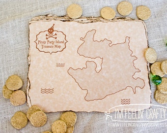Pirate Party Treasure Map- Printable- Black