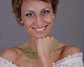 Crochet wire necklace, bib necklace, green necklace, green gemstone jewelry, gold wire necklace, Peridot jewelry, gemstone jewelry,