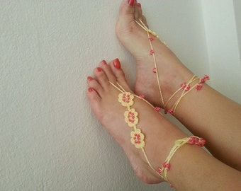 Yellow with pink beads flowers Barefoot Sandals, Foot jewelry, Bridal Accessories, Sexy,Yoga, Anklet, Bellydance, Steampunk, Beach Pool