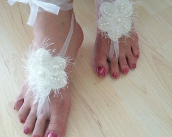 LUX Wedding White Pearl Sandals,Toe thong Bottomless shoes, Foot jewelry,Wedding Shoes , beach wedding,bellydance barefoot sandal