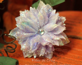 Glittered Medium Lavender Clematis with AB Cabochon Center on Alligator Hair Clip- Handmade Floral Headpiece