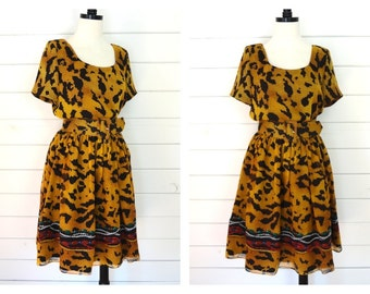VTG 80s Rickie Freeman for Teri Jon LEOPARD belted dress- Size 8 medium