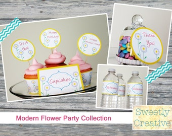 Modern Flower Printable Party Collection - INSTANT DOWNLOAD - Digital Party Supplies and Decor