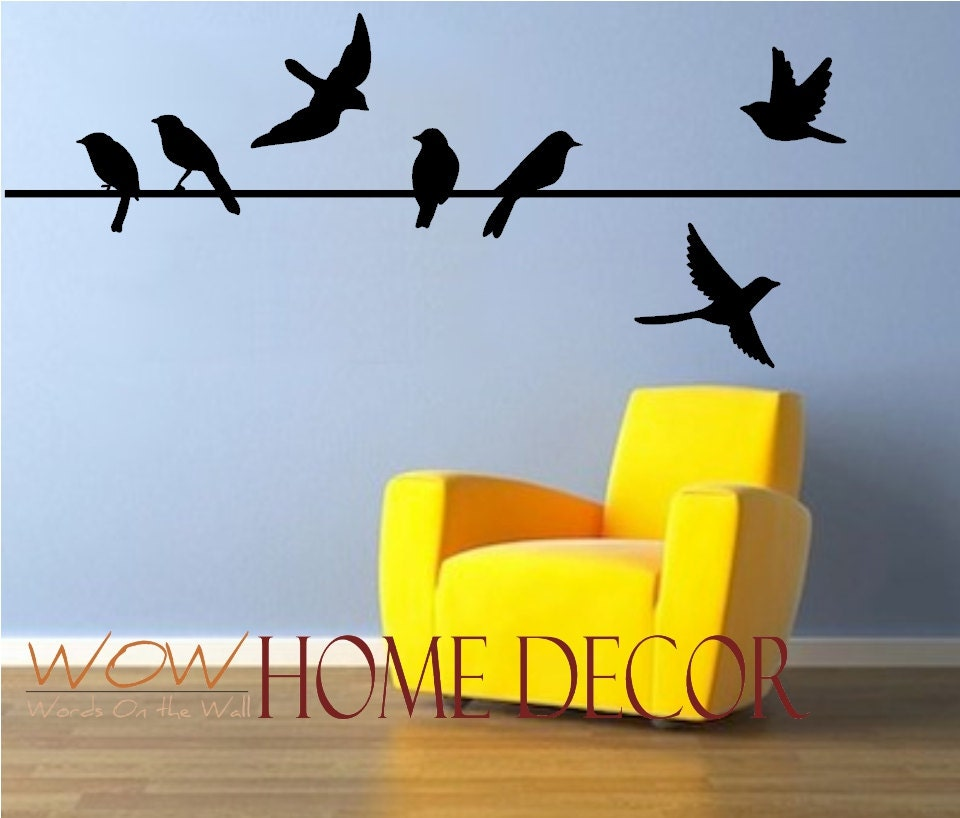 Vinyl wall art decal bird on a wire set bird silhouette for Bird wall art