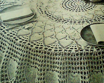 Vintage Crocheted Pineapple Petals Round Tablecloth Pattern